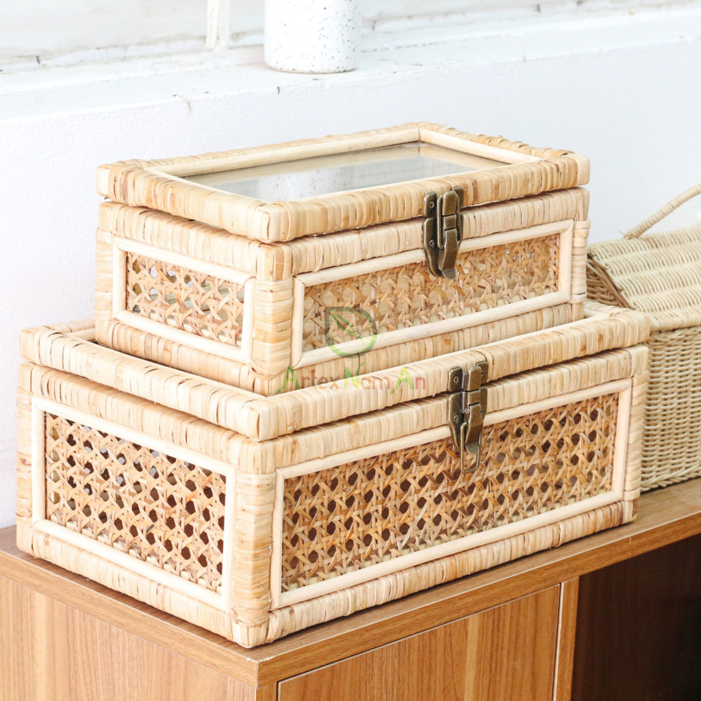 Handcrafted, Rectangular Boxes made of Rattan