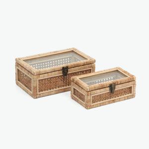 Rectangular rattan display box with glass lid home decor