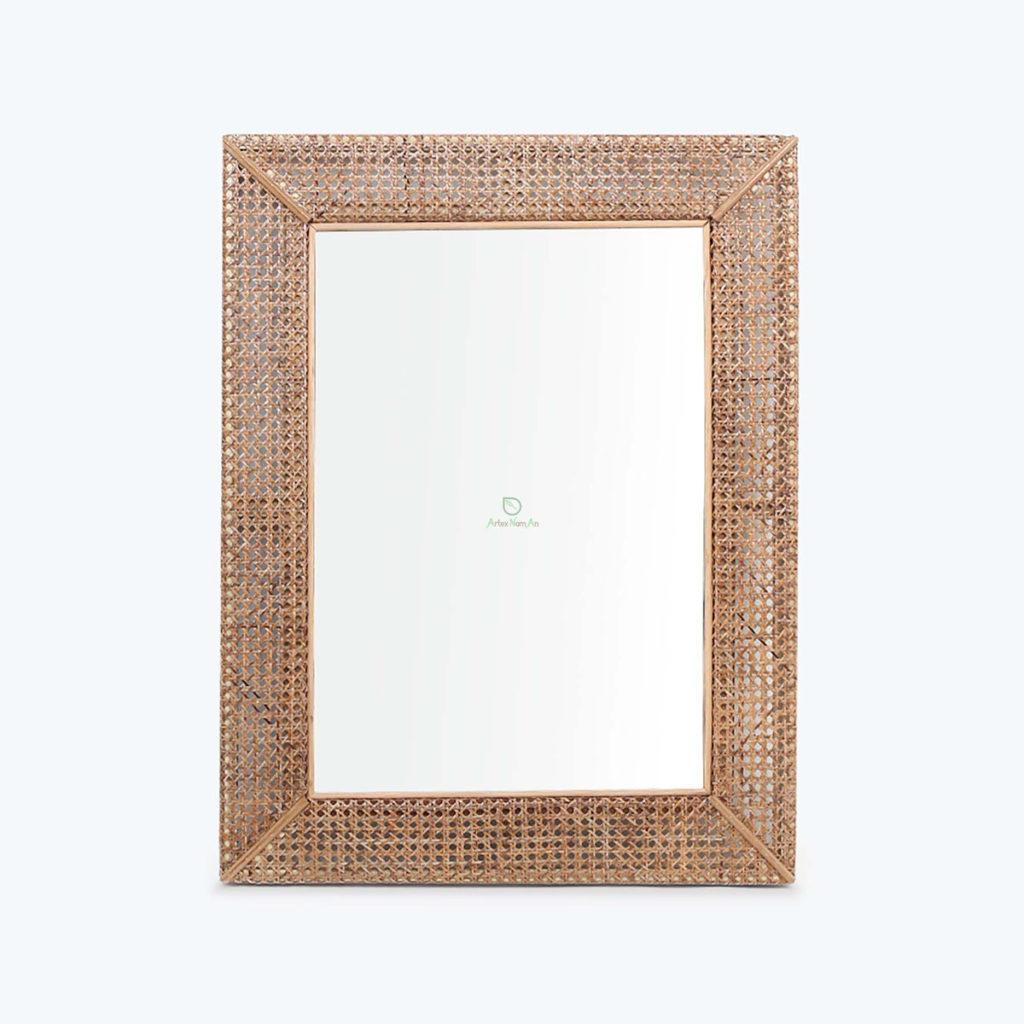 Sustainable, Rectangular Mirror made of Rattan