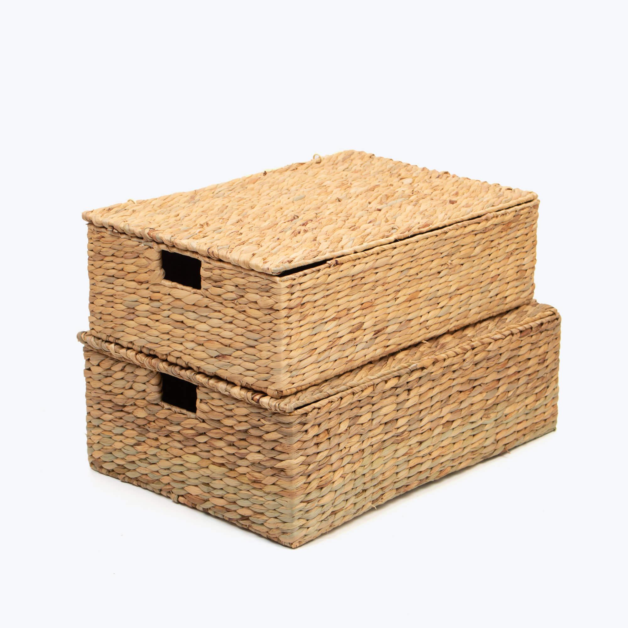 eco-friendly rectangular water hyacinth storage basket with lid