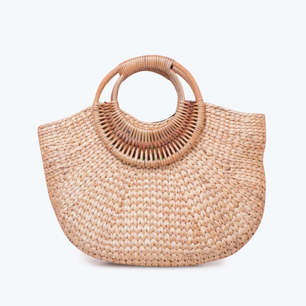Handmade, Semicircular shape Shopping bags made of Water Hyacinth