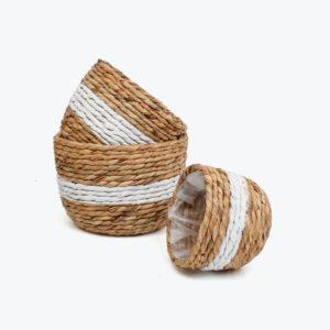Natural woven water hyacinth twists indoor planters pots Vietnam manufacturer & wholesaler